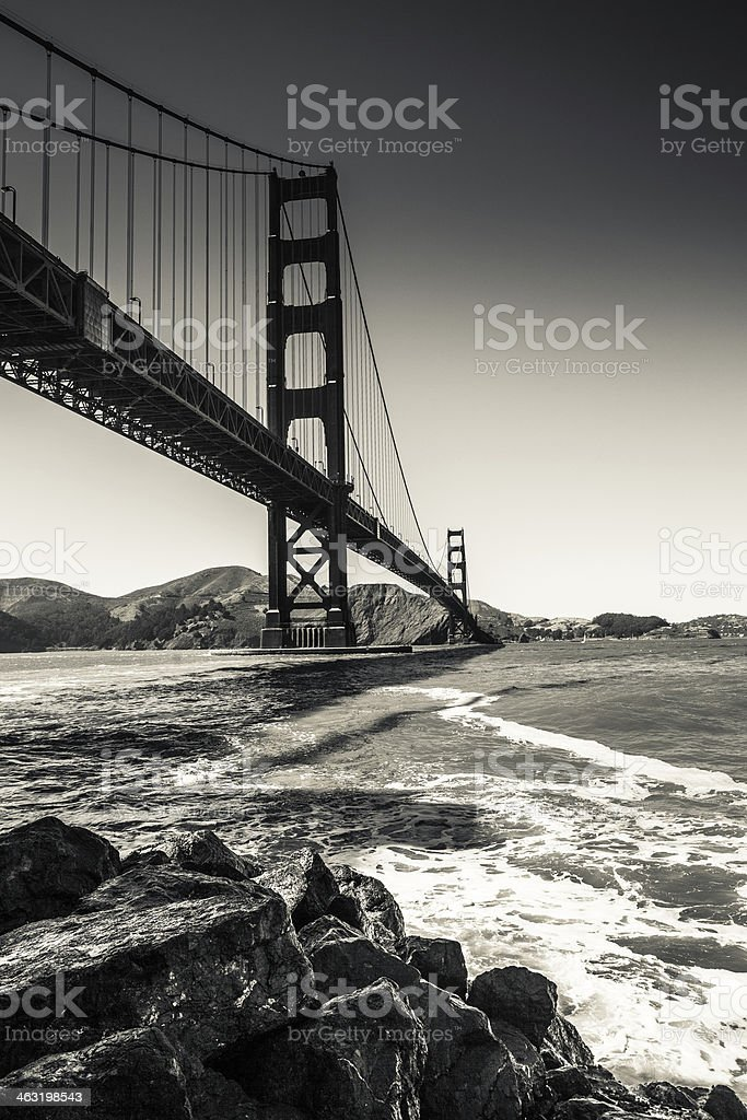 Golden Gate Bridge in Black and White, San Francisco royalty-free stock photo