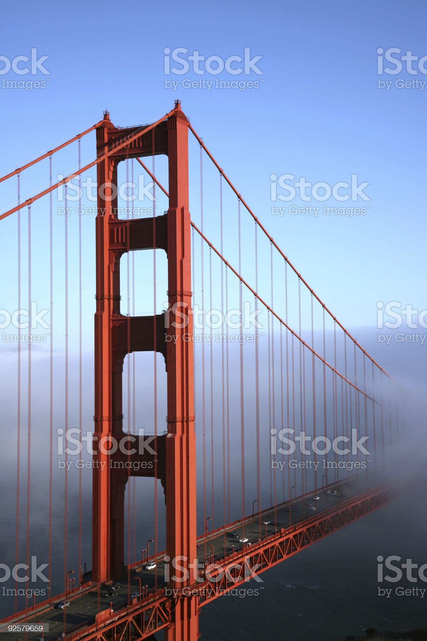 Golden Gate Bridge in Fog - Vertical 2 royalty-free stock photo