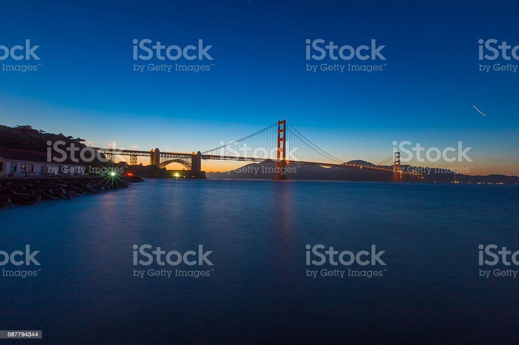 Golden Gate Bridge in San Francisco CA at night stock photo