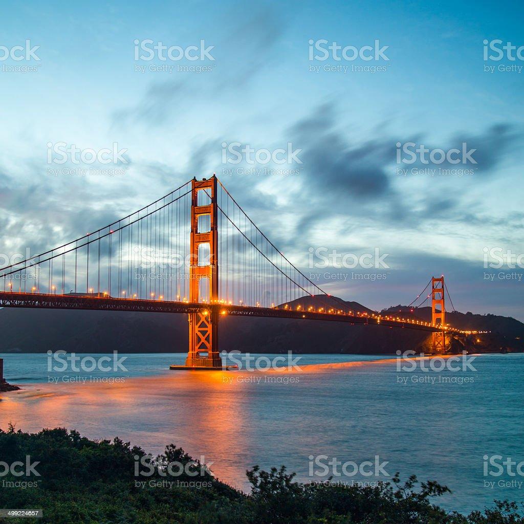 Golden Gate Bridge in San Francisco California at night stock photo