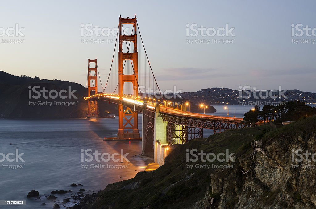 Golden Gate Bridge in San Francisco California illuminated at night royalty-free stock photo