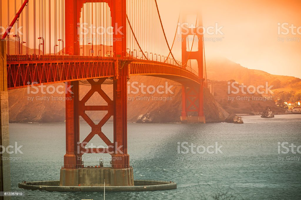 Golden Gate Bridge in San Francisco on a foggy day stock photo