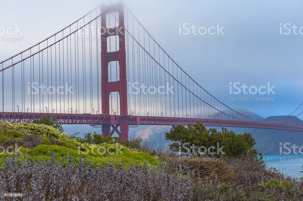 Golden Gate Bridge in San Francisco on a foggy day stock photo