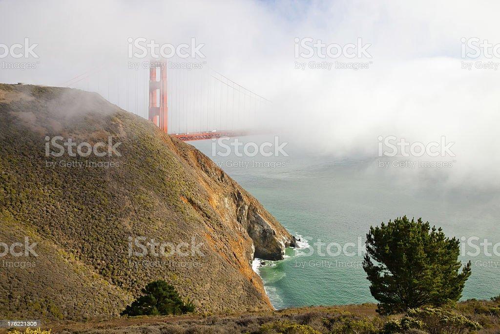 Golden Gate Bridge in the mist royalty-free stock photo