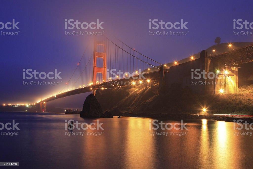 golden gate bridge in the rain royalty-free stock photo