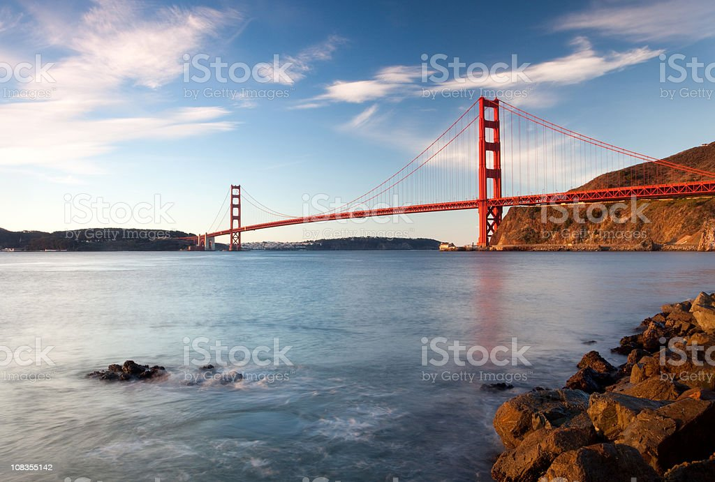 Golden Gate Bridge landscape with water royalty-free stock photo
