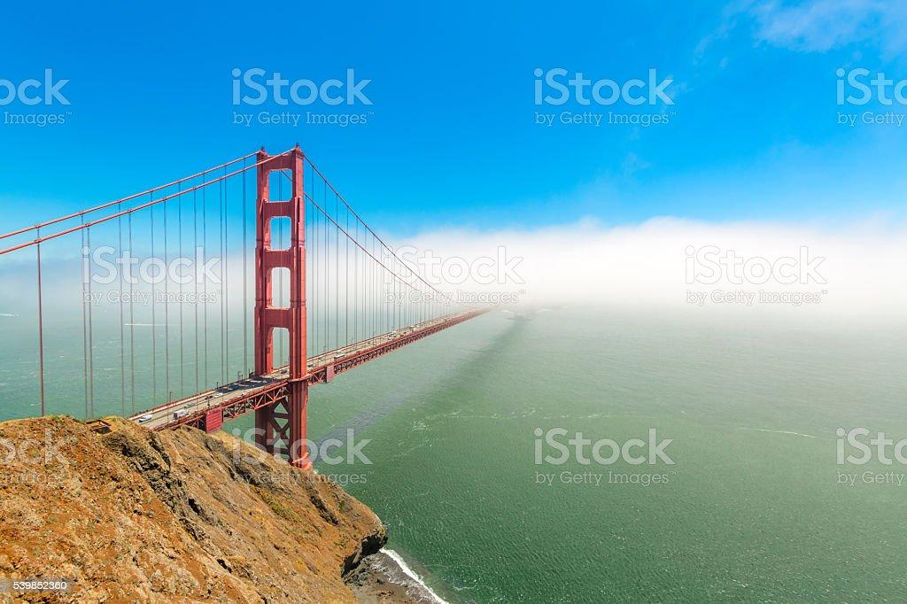Golden Gate Bridge Low Fog stock photo