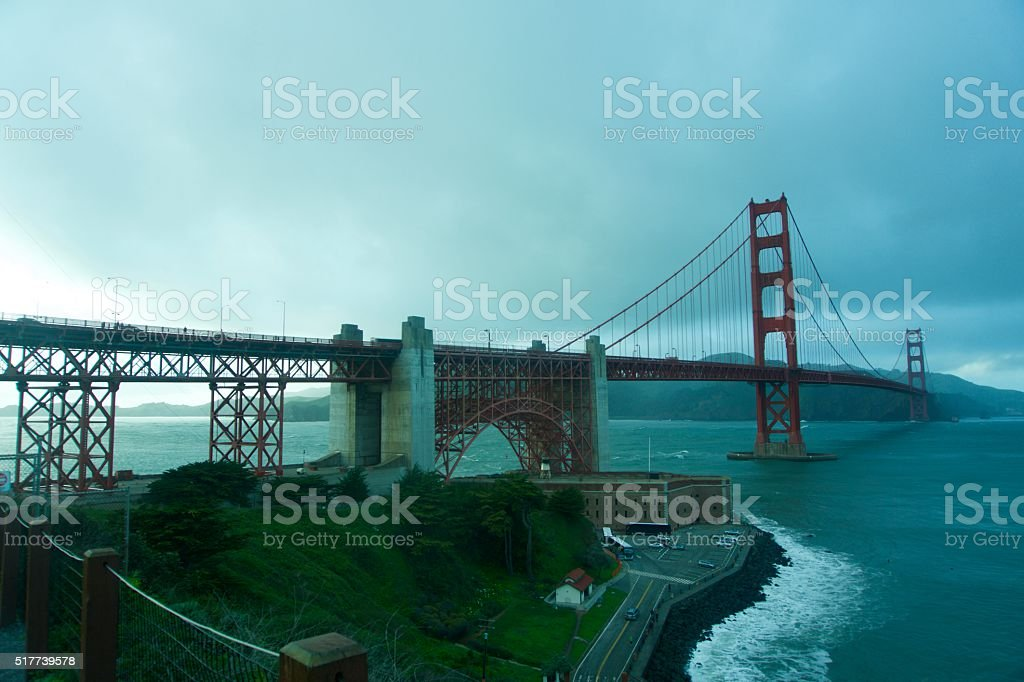 Golden Gate Bridge on a Foggy Stormy Day stock photo