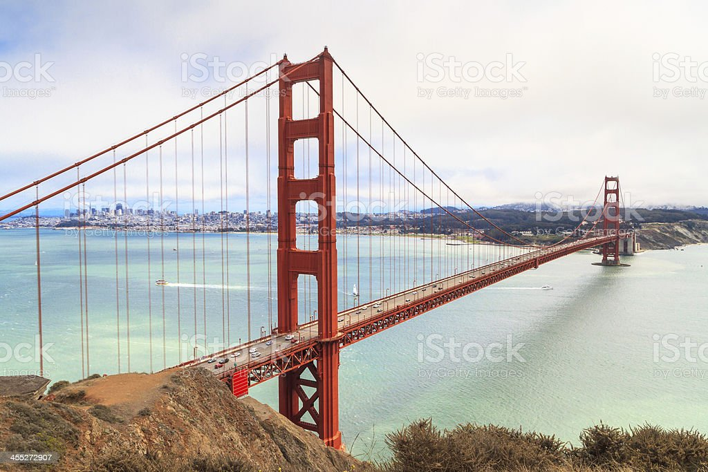 Golden Gate Bridge on foggy day, San Francisco stock photo
