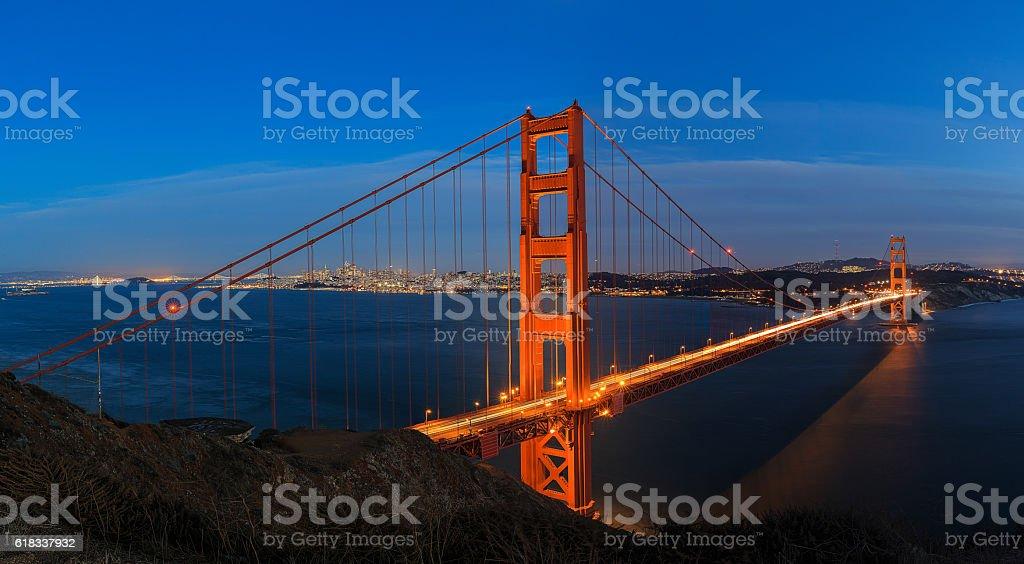 Golden Gate Bridge over San Francisco Panorama stock photo