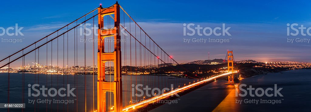 Golden Gate Bridge over San Francisco Panorama stock photo