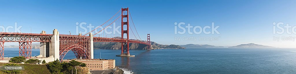 Golden Gate Bridge San Francisco Bay Fort Point Presidio panorama stock photo