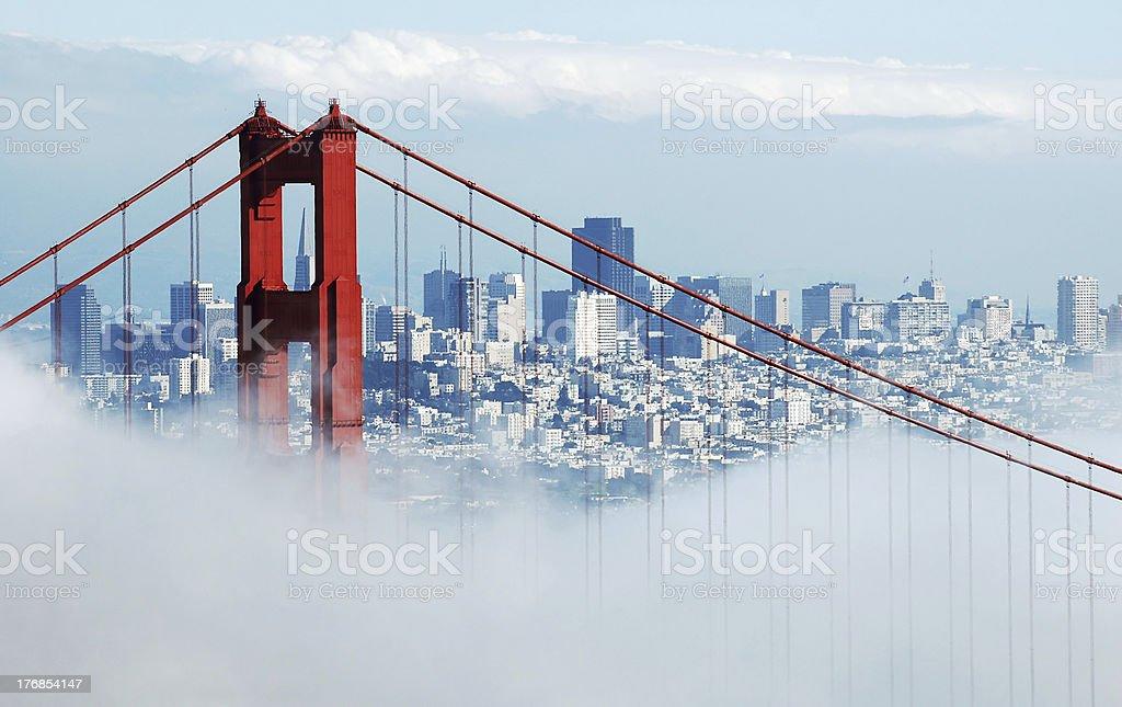 Golden Gate Bridge, San Francisco under cloud of fog royalty-free stock photo