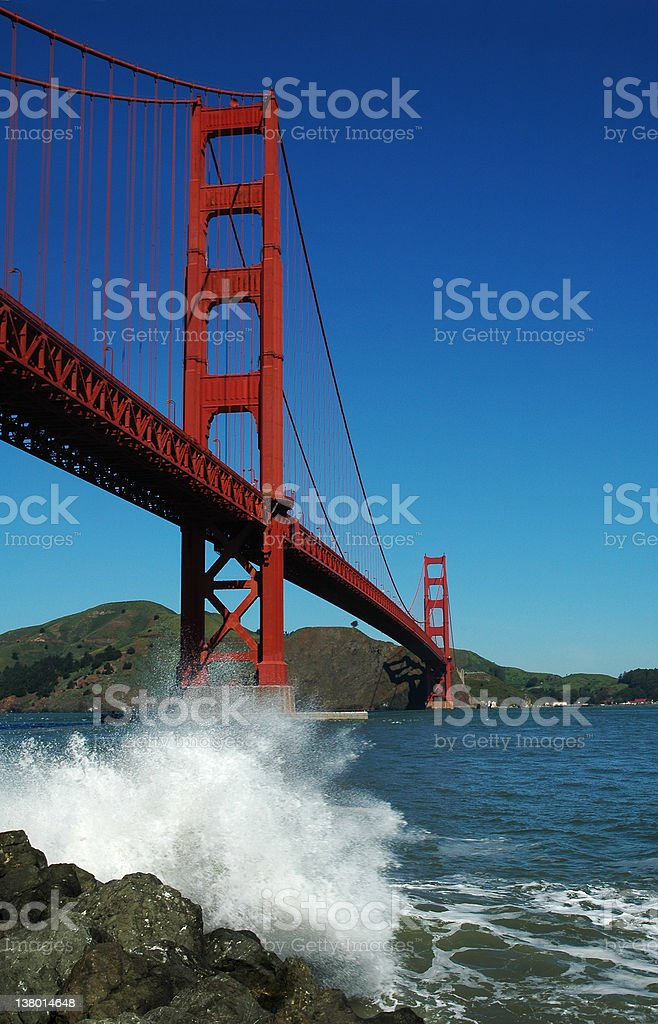 Golden Gate bridge, San Francisco  - with wave splash royalty-free stock photo