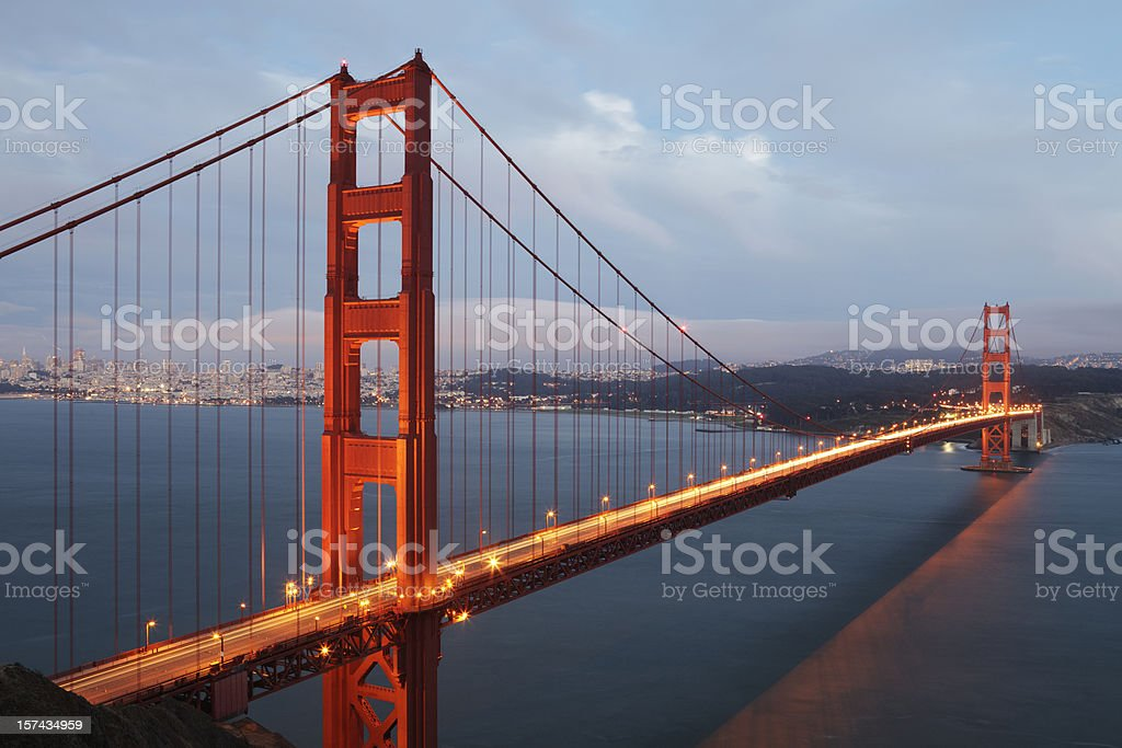 Golden Gate Bridge seen from Marin Headlands during twilight hours royalty-free stock photo
