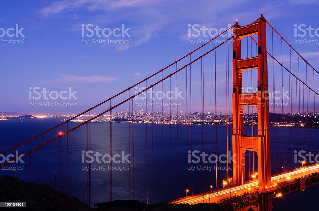Golden Gate Bridge spanning San Francisco Bay at night royalty-free stock photo