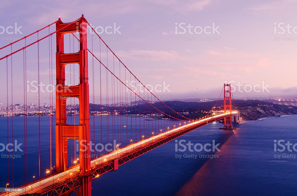 Golden Gate Bridge spans San Francisco Bay royalty-free stock photo