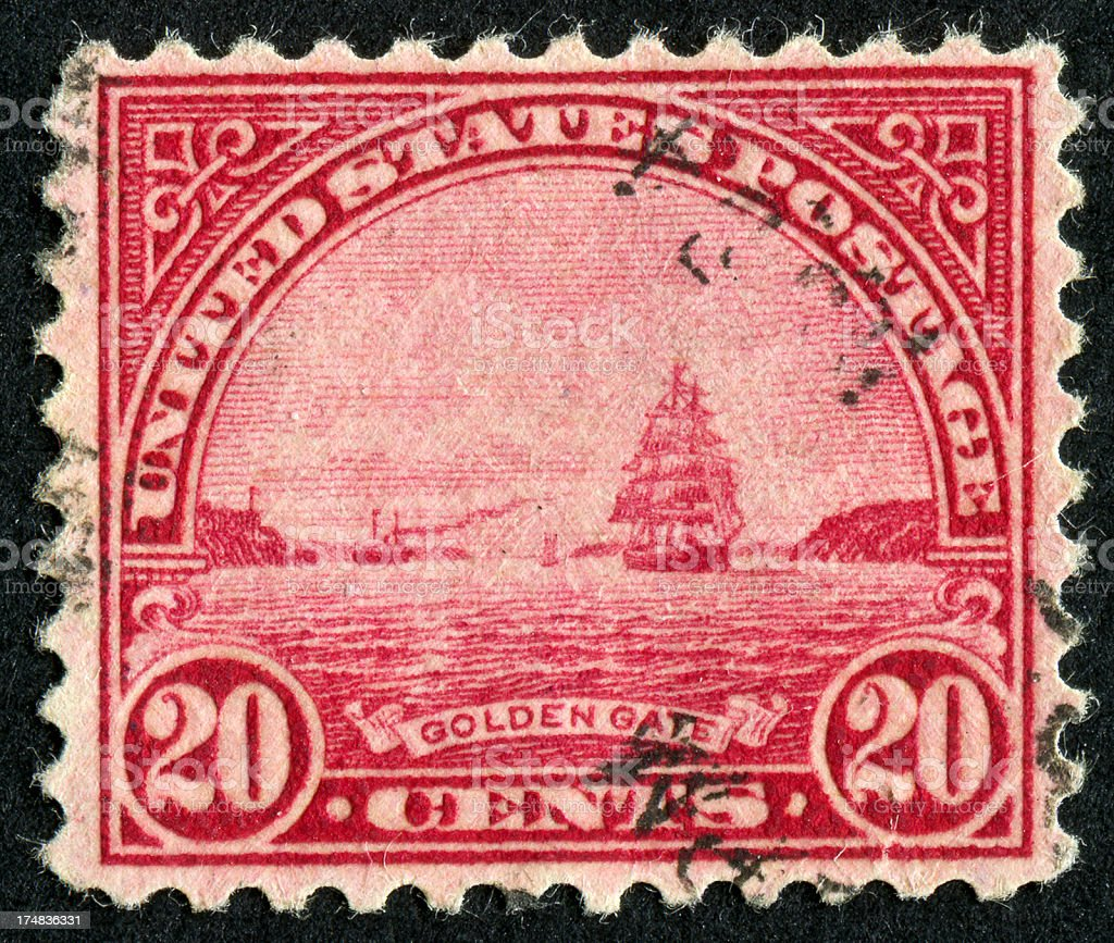Golden Gate Bridge Stamp royalty-free stock photo