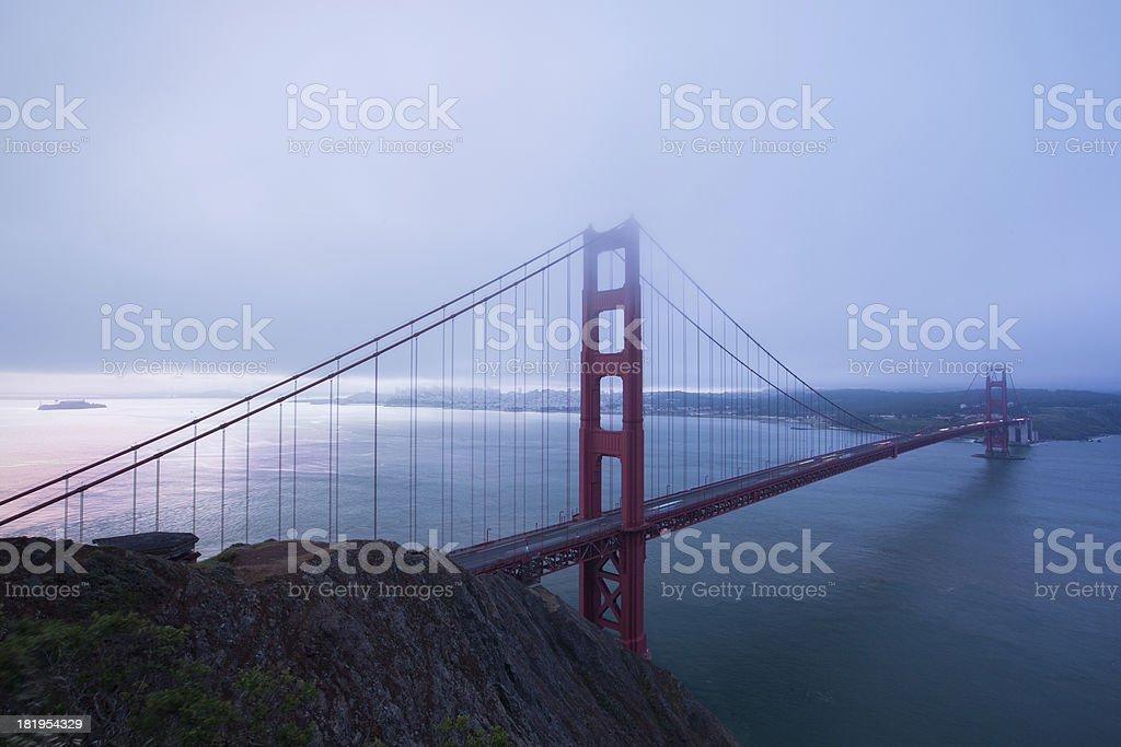 Golden Gate Bridge Sunrise under fog royalty-free stock photo