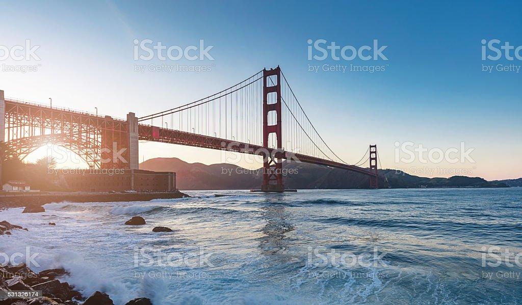 Golden Gate Bridge Sunset Panorama San Francisco stock photo