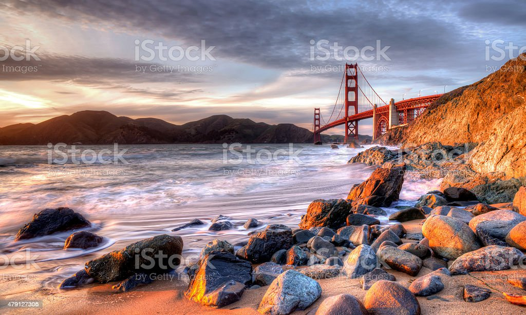 Golden Gate Bridge Sunset. stock photo