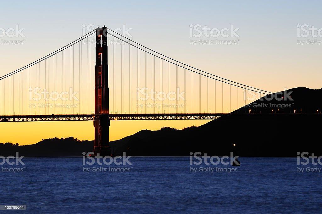 Golden Gate Bridge sunset view royalty-free stock photo