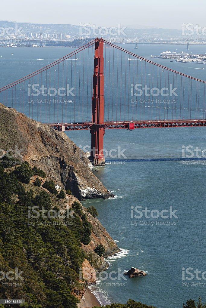 Golden Gate Bridge tower across San Francisco Bay Oakland royalty-free stock photo