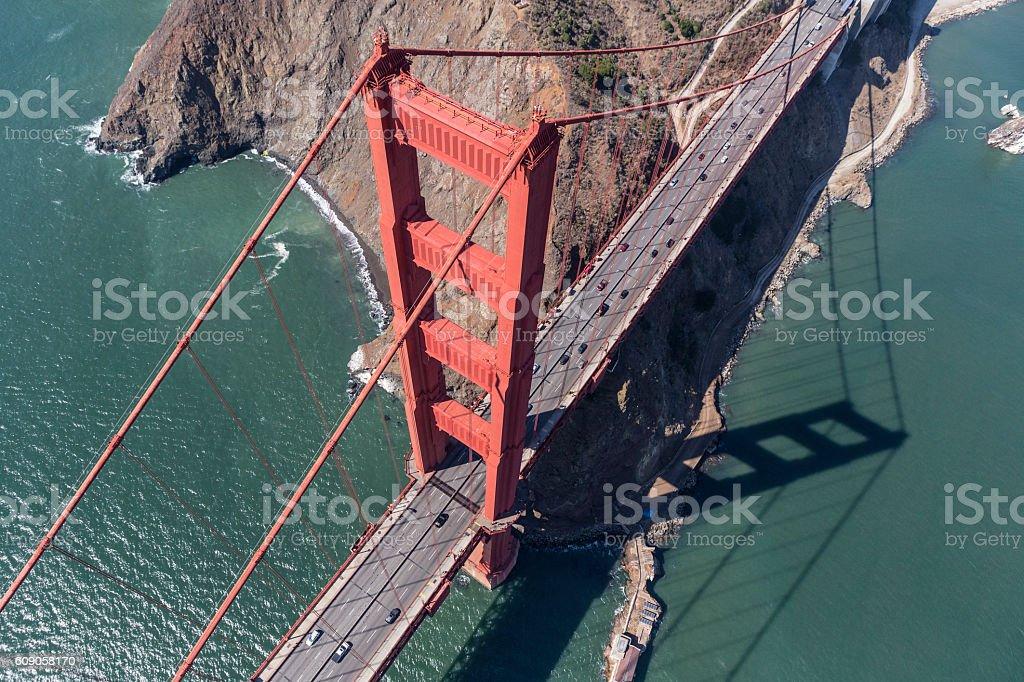 Golden Gate Bridge Tower and Marin Headlands Aerial stock photo
