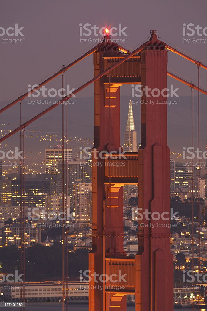 Golden Gate Bridge Tower at Night (XXXL) royalty-free stock photo
