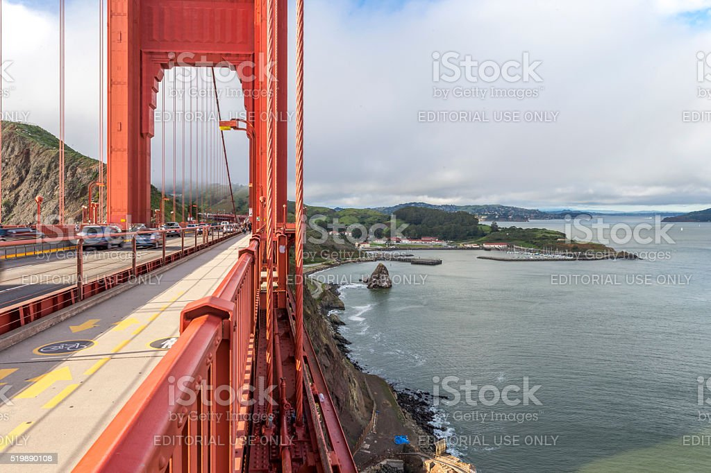 Golden Gate Bridge Tower under ultra wide angle , San Francisco stock photo