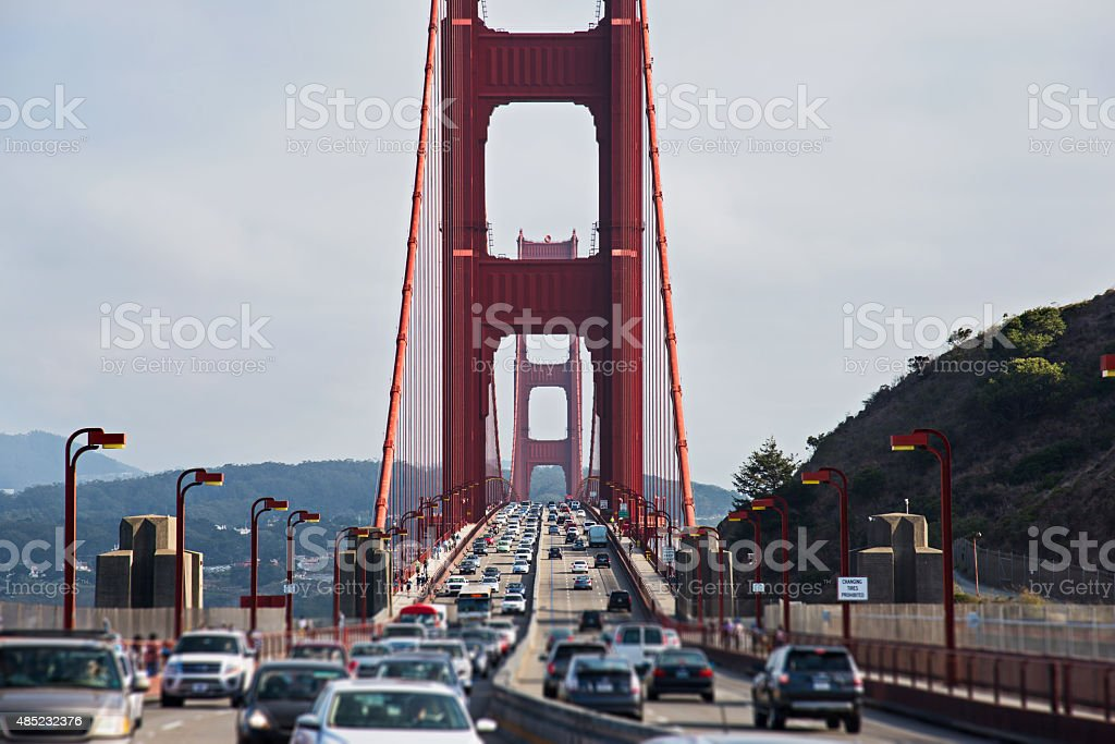 Golden Gate Bridge Traffic at Rush Hour stock photo