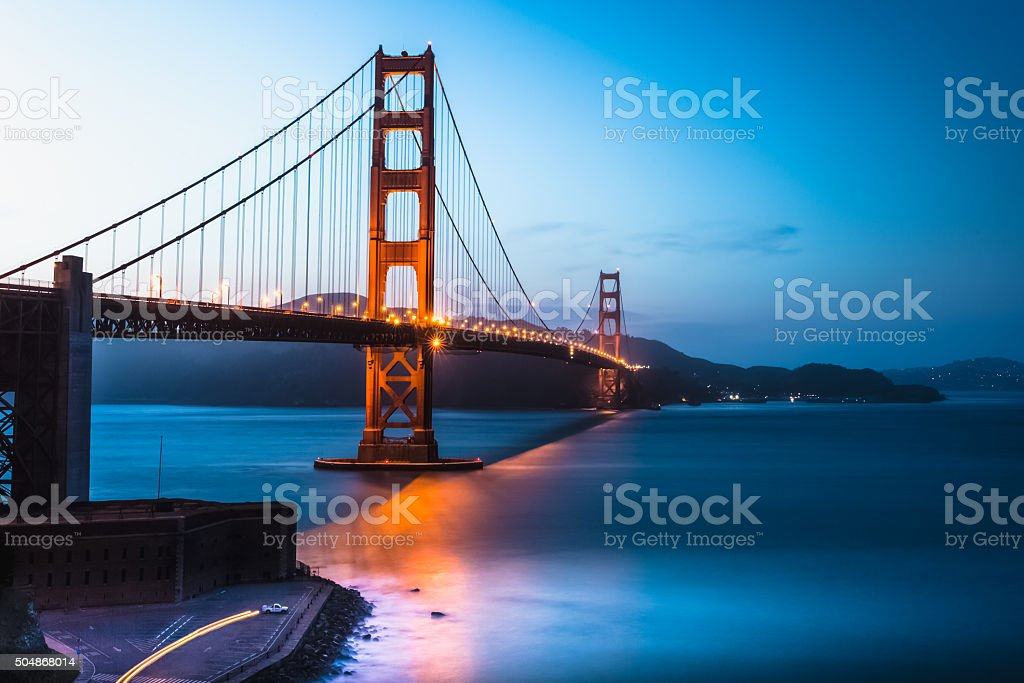 Golden Gate Bridge twilight, San Francisco Bay stock photo
