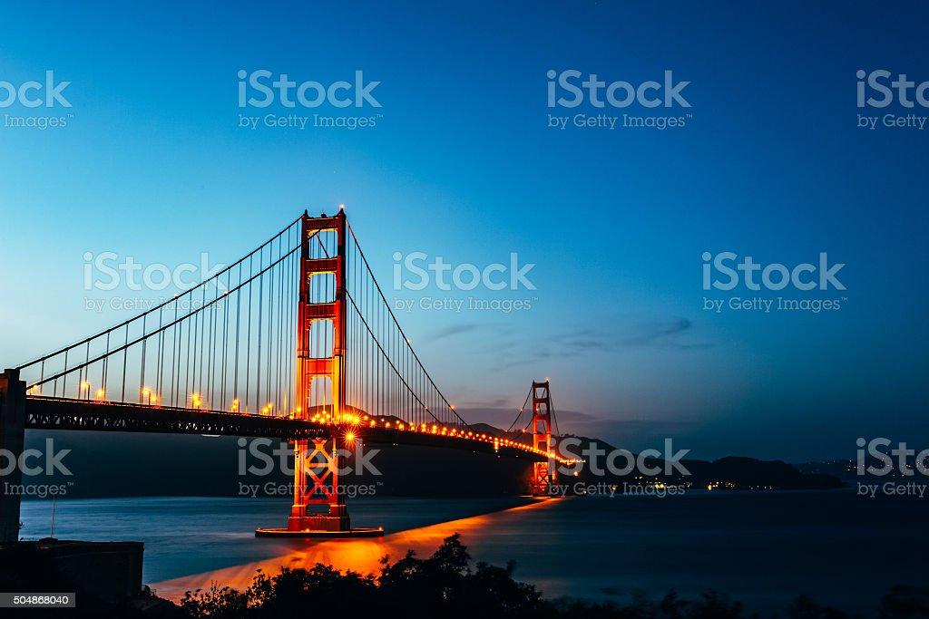 Golden Gate Bridge twilight, San Francisco Bay stock photo