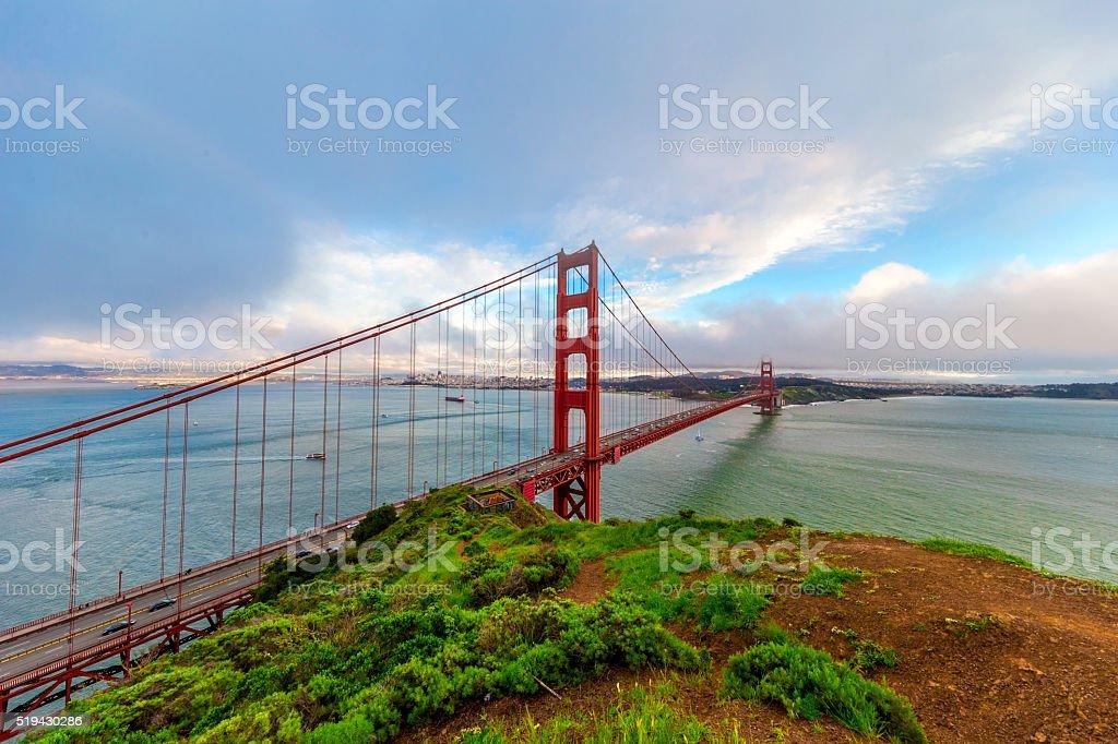 Golden Gate Bridge under ultra wide angle lens stock photo