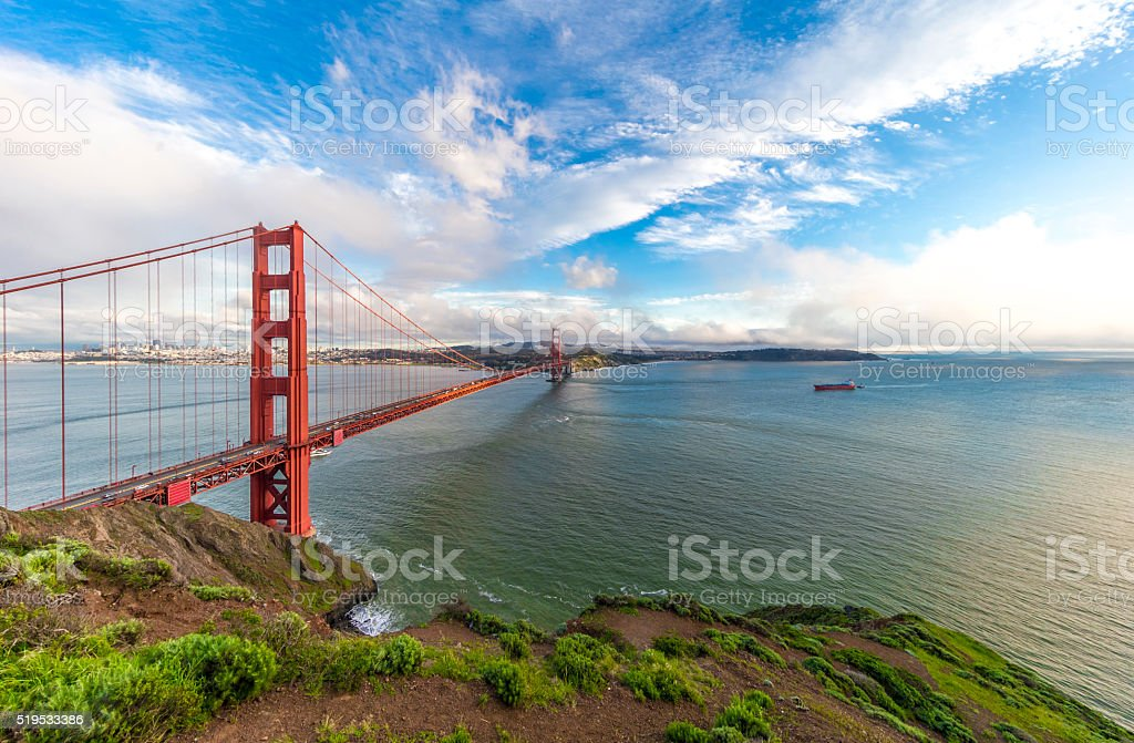 Golden Gate Bridge under ultra wide angle lens stock photo