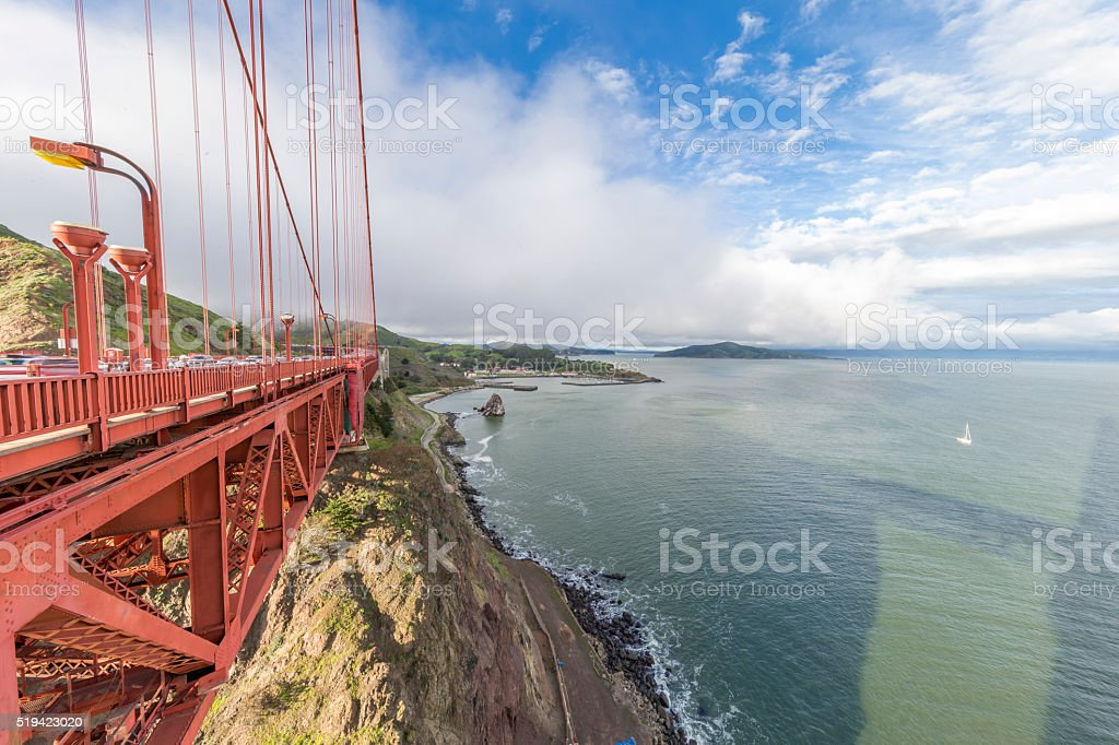 Golden Gate Bridge under ultra wide angle, San Francisco stock photo