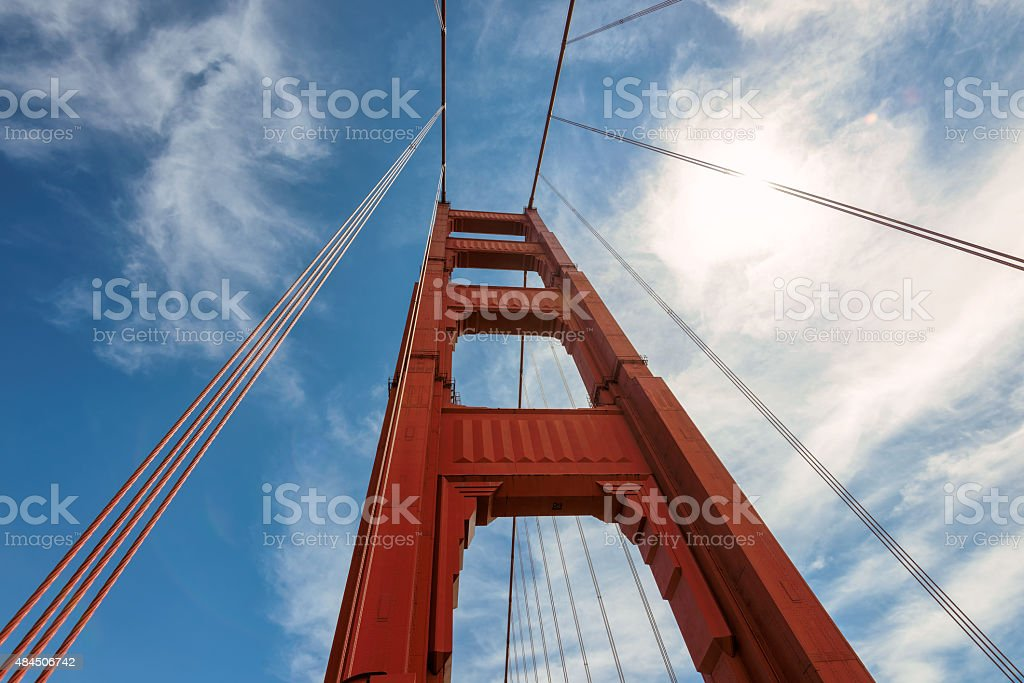 Golden Gate Bridge up to the sky, San Francisco stock photo