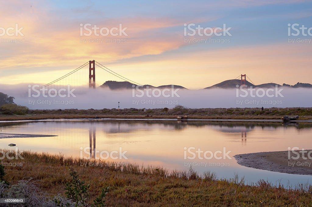 Golden Gate Bridge with fog royalty-free stock photo