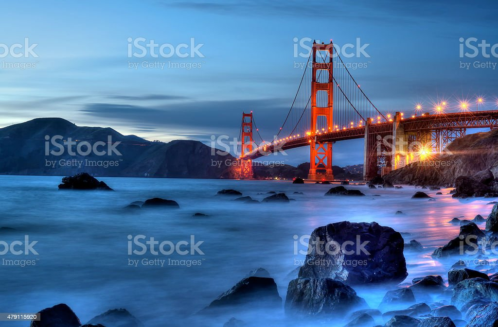 Golden Gate Bridge with Lights. stock photo