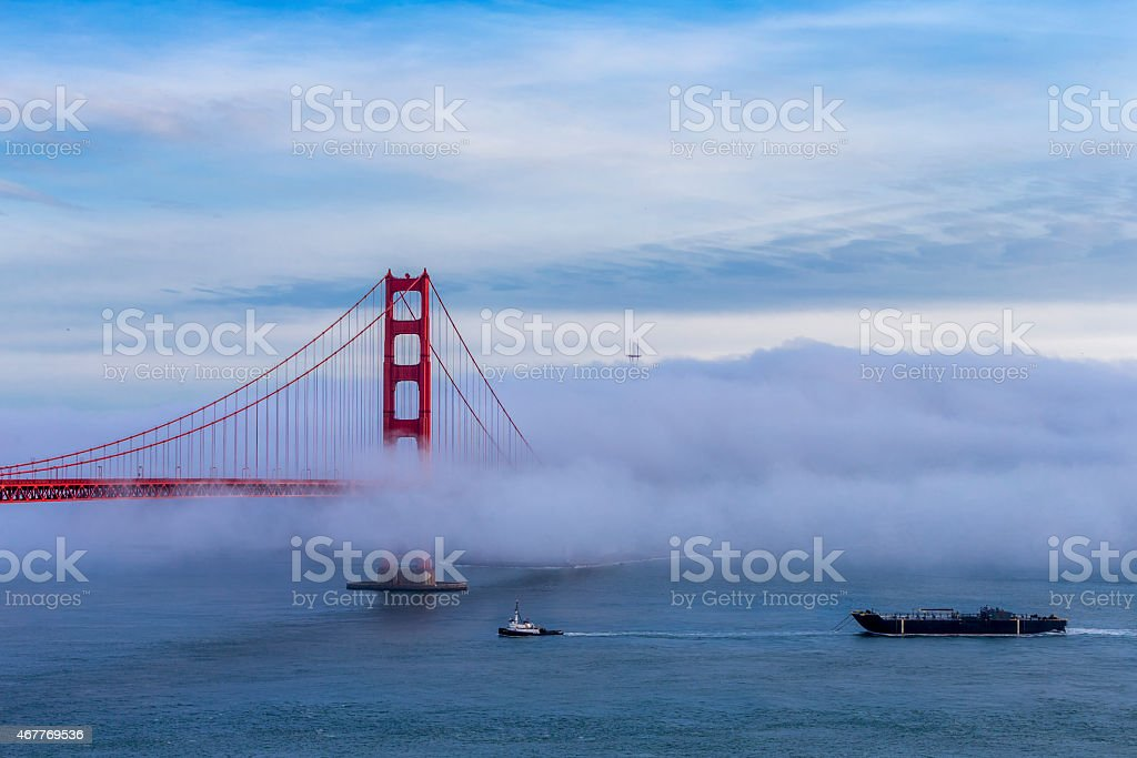 Golden Gate Bridge with low fog, San Francisco stock photo