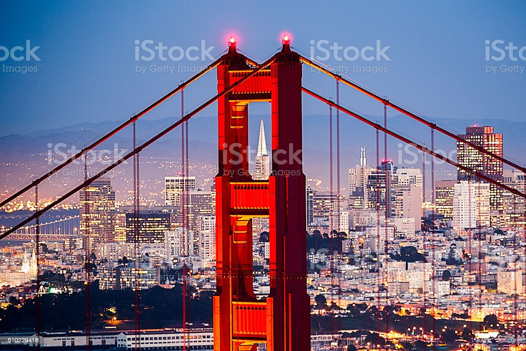 Golden Gate Bridge with San Francisco Cityscape Close up stock photo