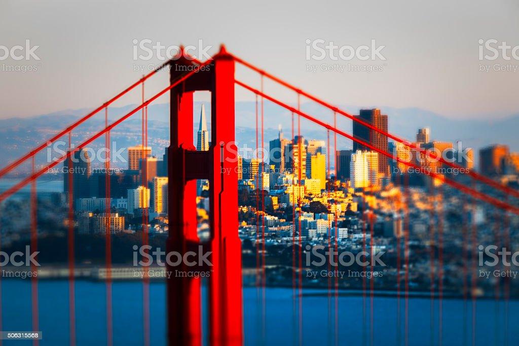 Golden Gate Bridge with San Francisco Cityscape stock photo