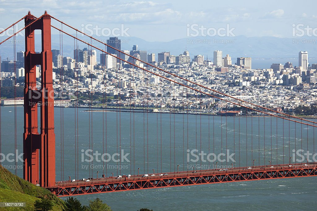 Golden Gate Bridge with San Francisco in background royalty-free stock photo