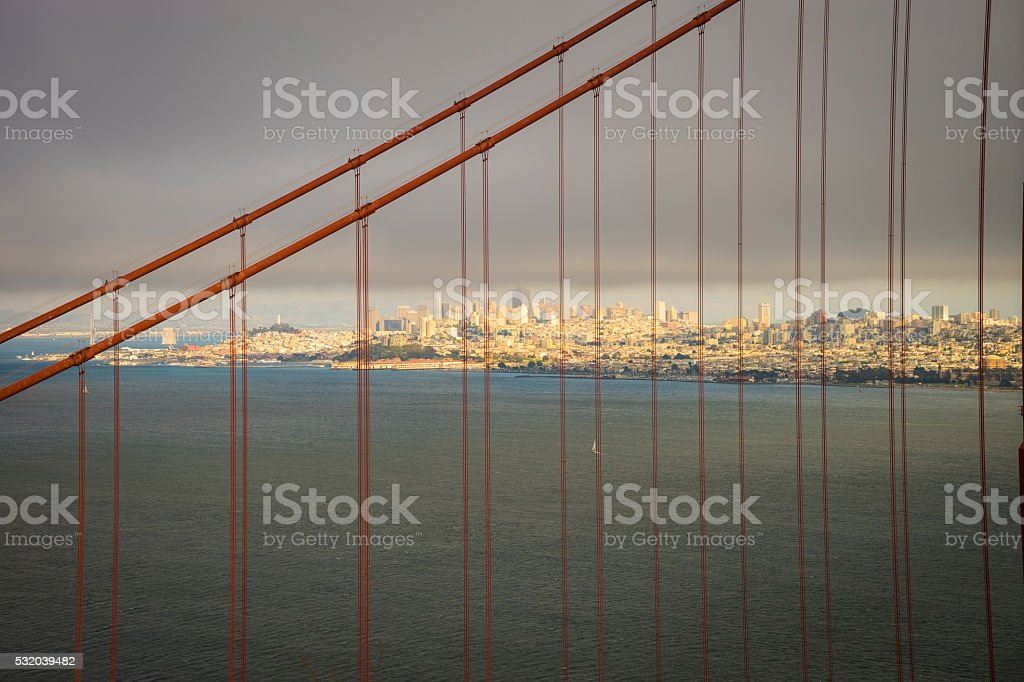Golden gate Bridge with San Francisco in the background stock photo