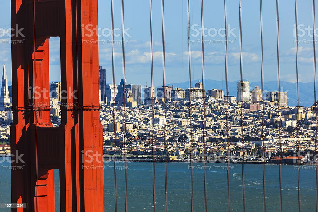Golden Gate bridge with San Francisco skyline in background royalty-free stock photo