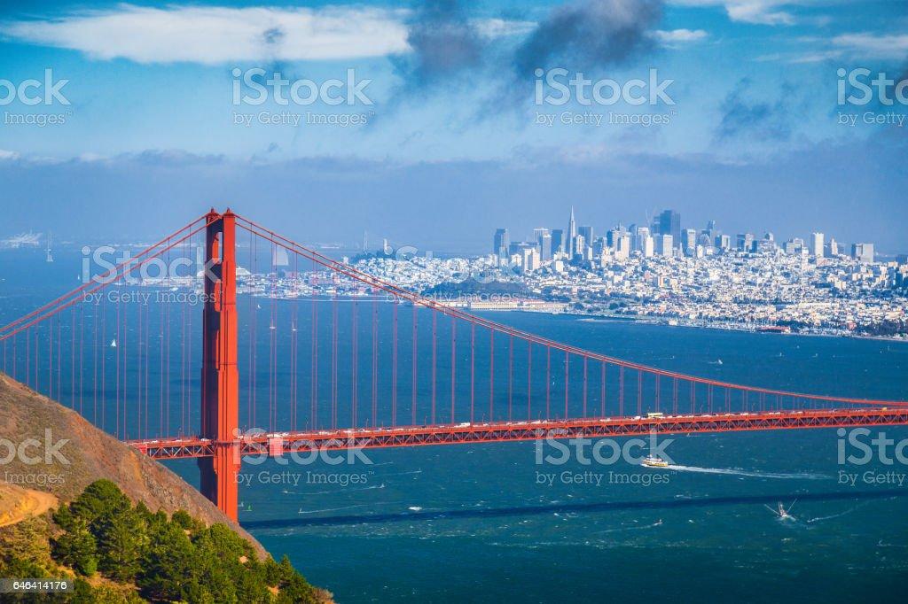 Golden Gate Bridge with San Francisco skyline in summer, California, USA stock photo