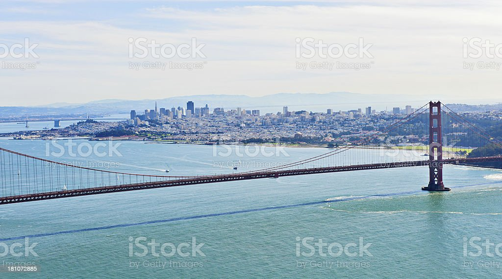 Golden Gate Bridge with San Francisco Skyline royalty-free stock photo