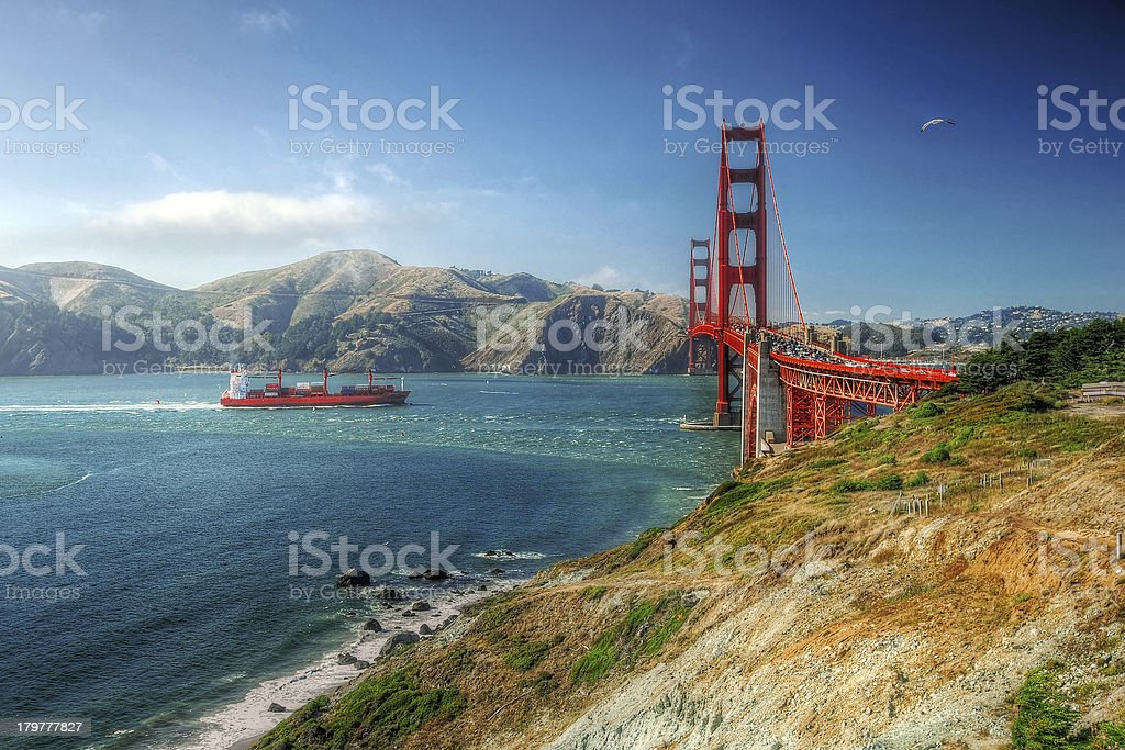 Golden Gate Bridge with ship and bird royalty-free stock photo