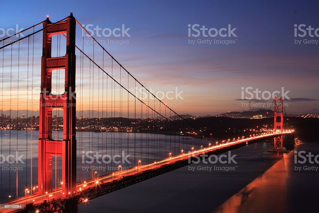 golden gate bridge with sunrise royalty-free stock photo