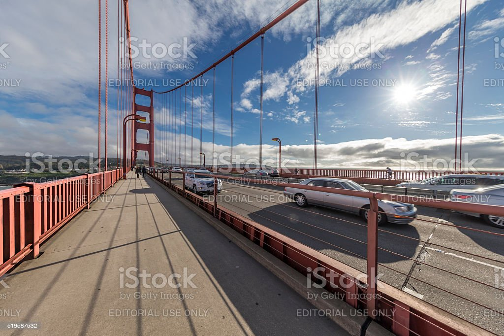 Golden Gate Bridge with Wide angle lens, San Francisco stock photo